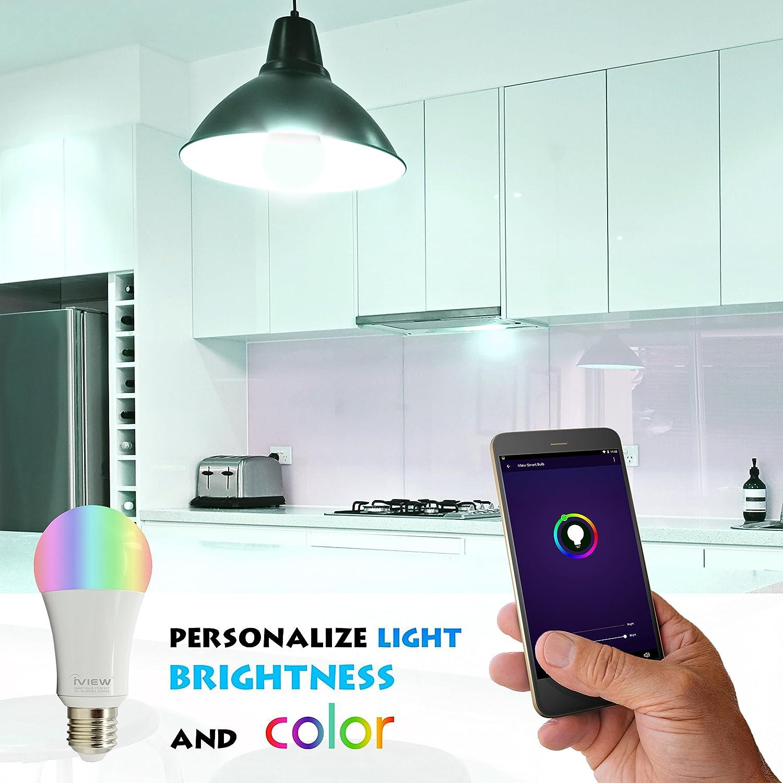 multicolor control remoto aplicaci/ón gratuita Bombilla iview-Isb600 inteligente Wifi llev/ó la luz funciona con Alexa sin concentrador Obligatorio Dimmible