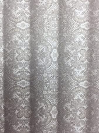 Envogue Julian Elegant Fabric Shower Curtain In Silver And Grey With  Metallic Highlights