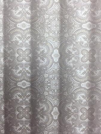 Amazon.com: Envogue Julian Elegant Fabric Shower Curtain in Silver ...