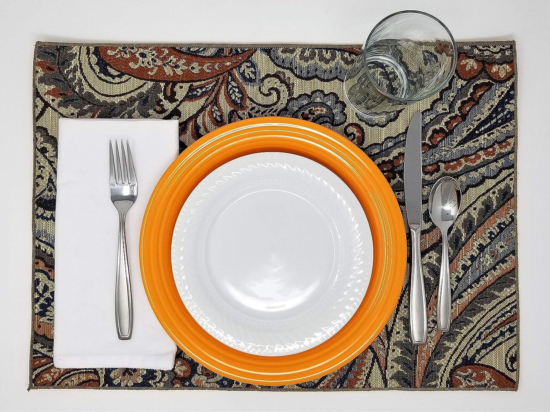 Paisleys Set of 4 Fall Color Palette Placemats