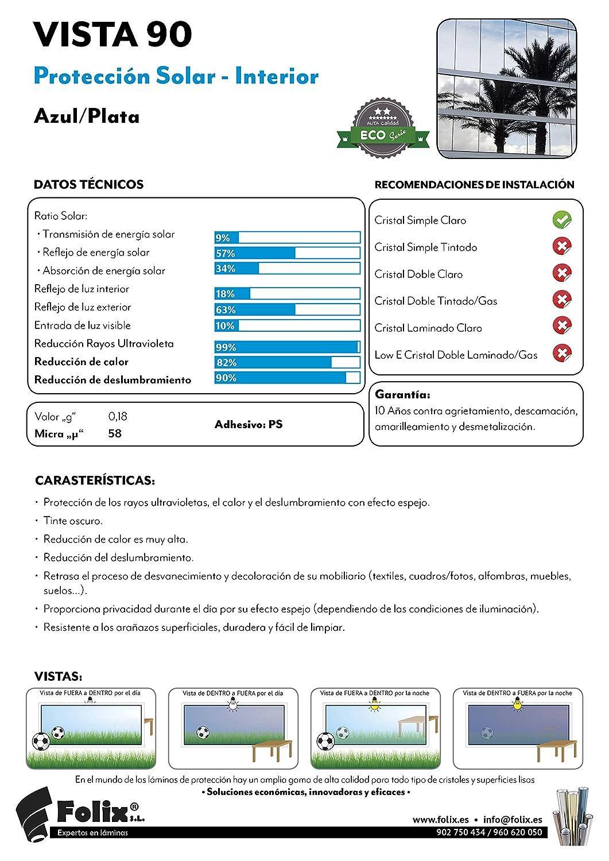 Folix Vista 90 Premium L Mina Solar Azul Plata Efecto Espejo  # Muebles Efecto Espejo
