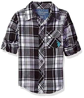 U.S. Polo Assn. Niños W461290CC Manga Larga Camisa de Botones ...