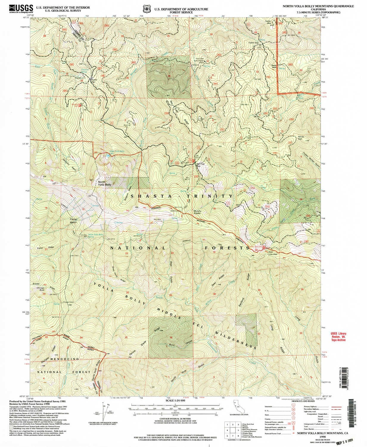 Amazon.com : North Yolla Bolly Mountains CA topo map, 1:24000 Scale on