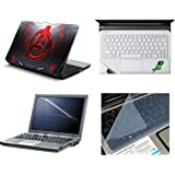 NAMO ART 4in1 Notebook Avengers Red Metal Laptop Skins With Laptop Screen Protector,KeyBoard Protector & Trackpad Skin For All Laptop-15.6 Inch(Combo)