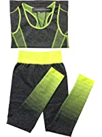 American Active Apparel Ombre Color High Waist Yoga Leggings/Pants & Top Set For Women Made With Quick Dry Material
