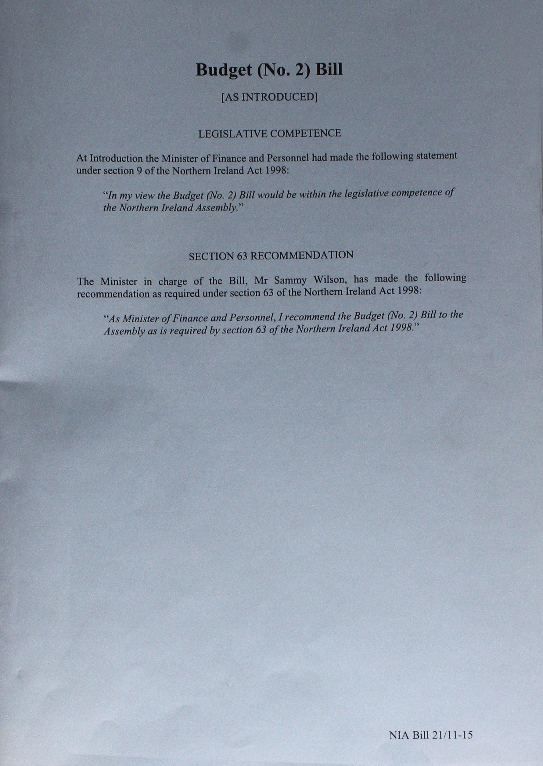 Budget (No.2) Bill: (as introduced) (Northern Ireland Assembly bills) pdf