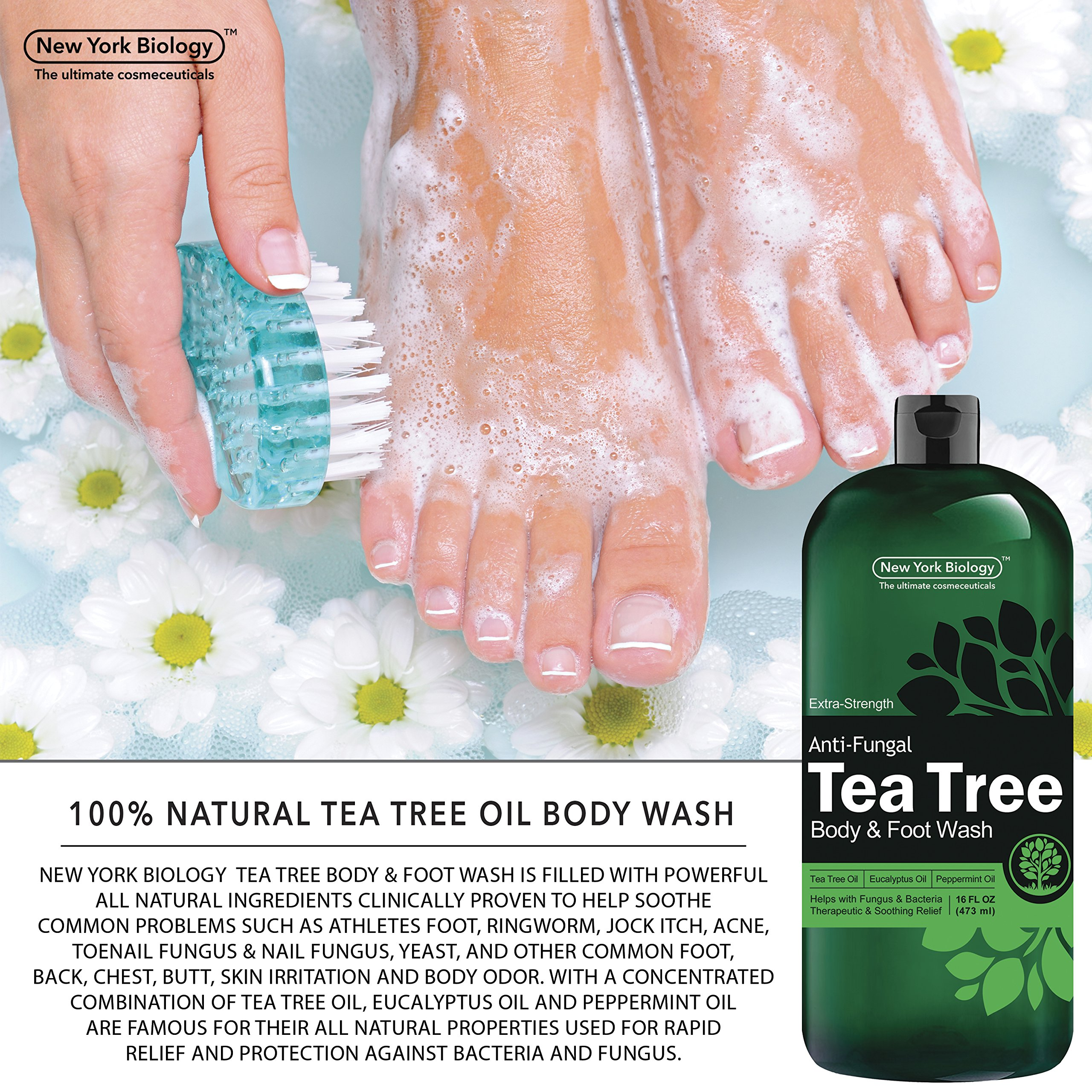 Antifungal Tea Tree Oil Body Wash – HUGE 16 OZ – 100% Pure & Natural - Extra Strength Professional Grade - Helps Soothe Toenail Fungus, Athlete Foot, Body Itch, Jock Itch & Eczema by New York Biology (Image #6)