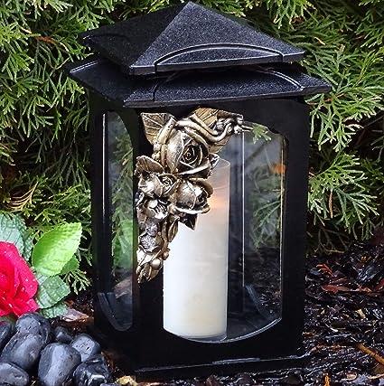 Grablaterne Grablampe Lampe Grableuchte Grablicht Grabschmuck Herz Kerze Silber Candles & Tea Lights