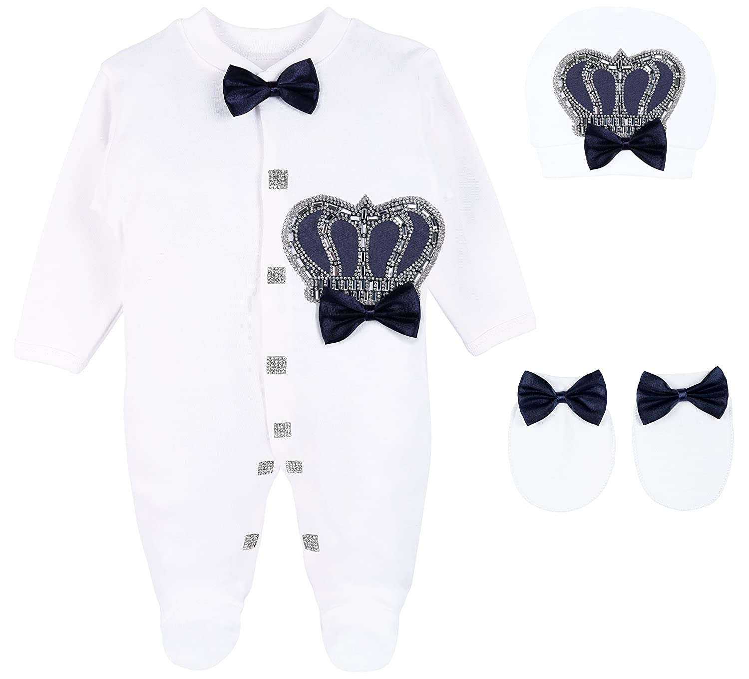 Lilax Baby Boy Newborn Crown Jewels Layette 3 Piece Gift Set 0-3 Months 1455