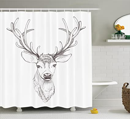 Ambesonne Antlers Shower Curtain Sketch Of Deer Head Illustration Style Black And White Monochromic Wild