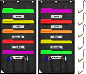 COMPONO 2 Pack Wall Storage Pocket Charts for Classroom Organization - Best Hanging File Pocket Chart for School, Classroom, Home or Office Use. Wall Pocket Chart (5 Pocket-2 Pack, Black w/Window)
