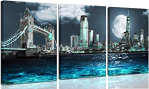 THRLVEART City - Wall-Art for Living Room Teal New York City Wall Decor London City Canvas Wall Art for Bedroom - Home Art Prints with Wood Frame Size 12