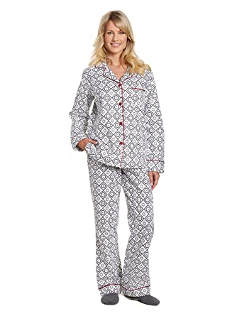Women s Cotton Flannel Pajama Sleepwear Set - Moroccan White-Black - Small 20f199a2c