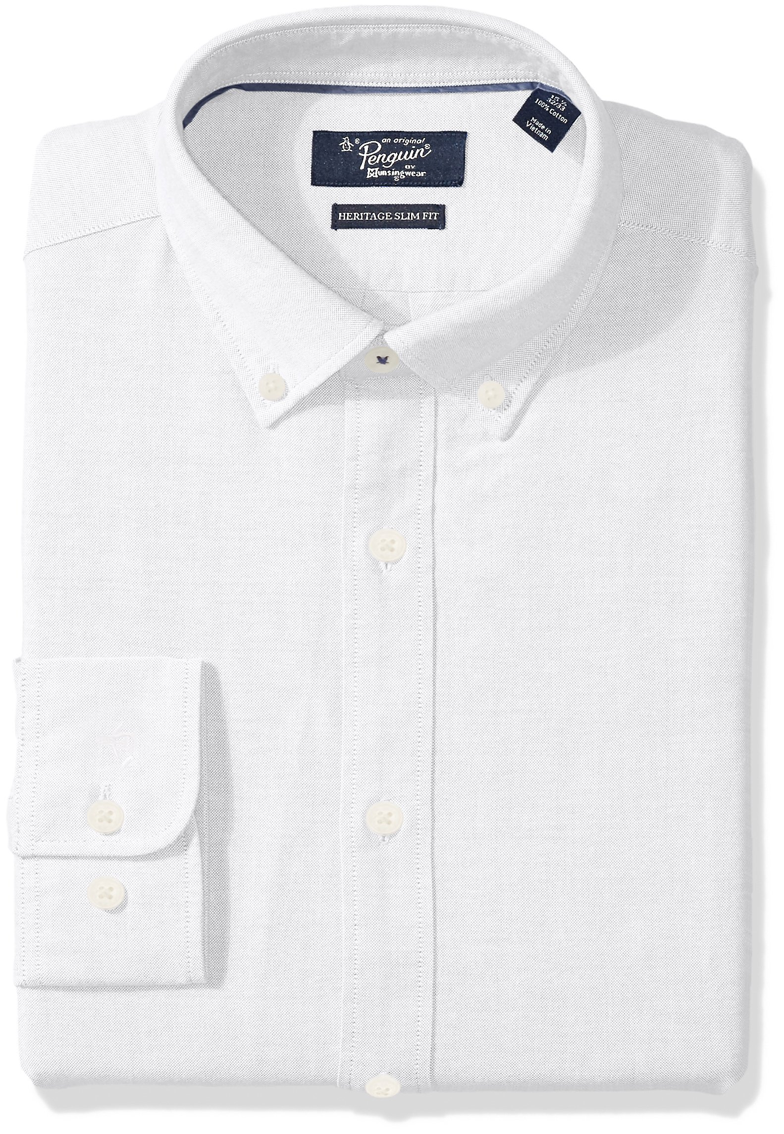 Original Penguin Men's Slim Fit Essential Dress Shirt, White Oxford, 16'' Neck 32''-33'' Sleeve