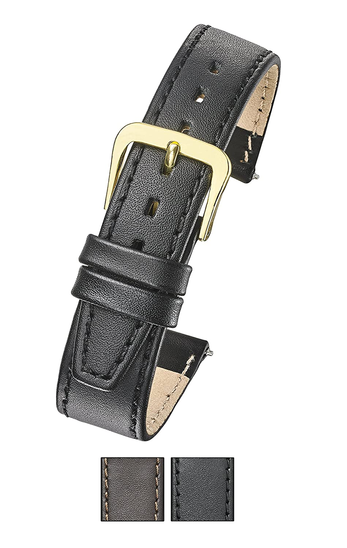 本革フラットステッチ腕時計バンド( Fits手首サイズ6 – 7 1 / 2インチ-ブラック、ブラウン – 10 mm , 12 mm , 14 mm , 16 mm , 18 mm , 20 mm 12mm ブラック 12mm|ブラック ブラック 12mm B07C6X7R4W