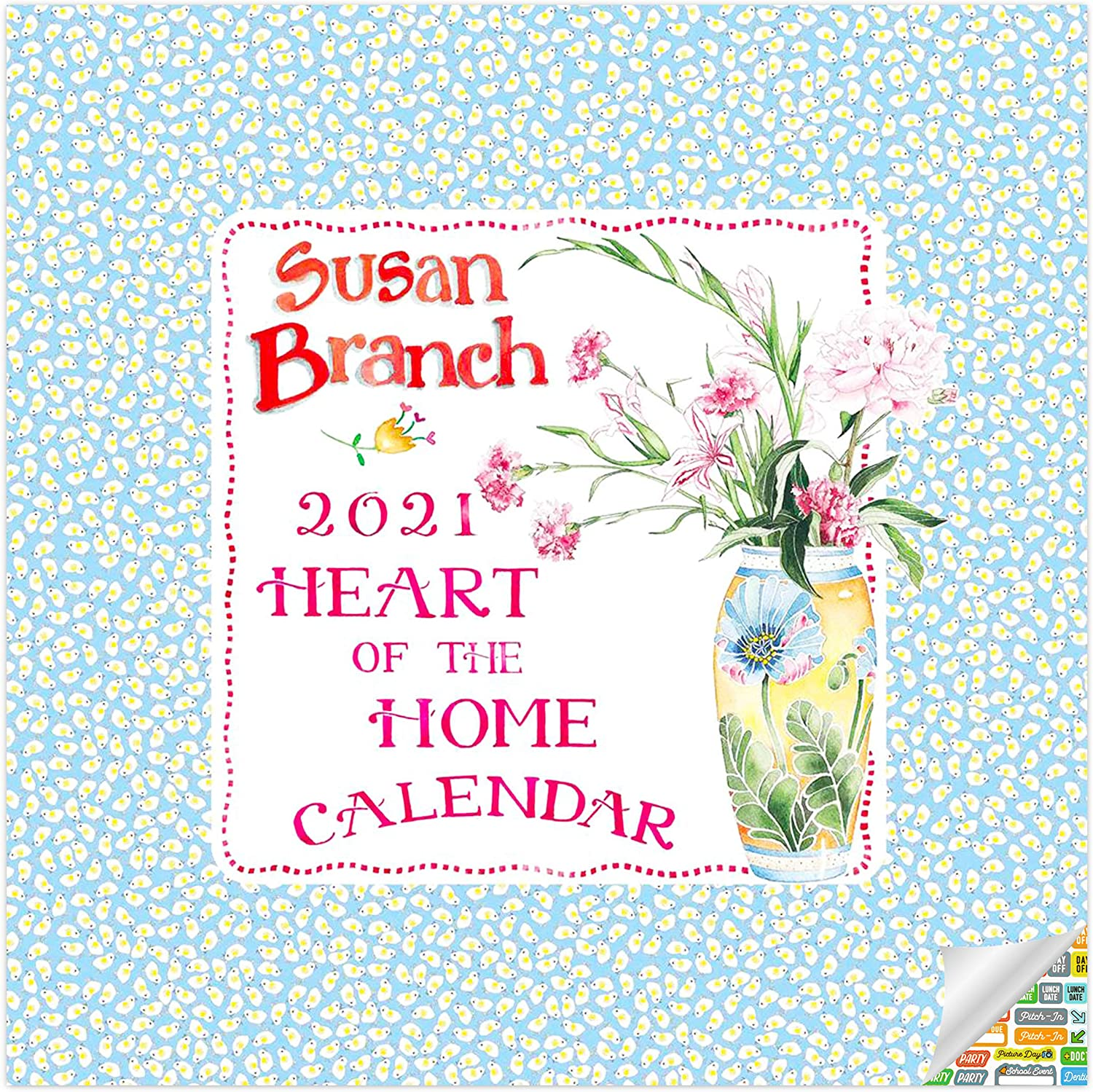 Susan Branch - Heart of The Home Calendar 2021 Bundle - Deluxe 2021 Susan Branch Wall Calendar with Over 100 Calendar Stickers