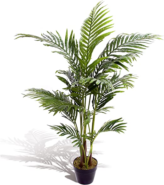 Estupenda planta artificial tropical, palmera, areca, de 120 cm, para oficina, invernadero, jardín interior o exterior.: Amazon.es: Hogar