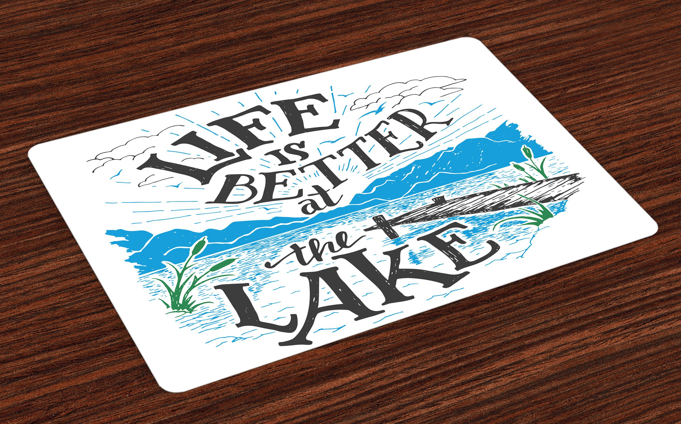 Lunarable Cabin Place Mats Set of 4, Life is Better at The Lake Wooden Pier Plants Mountains Sketch Art, Washable Fabric Placemats for Dining Room Kitchen Table Decor, Blue Jade Green Charcoal Grey