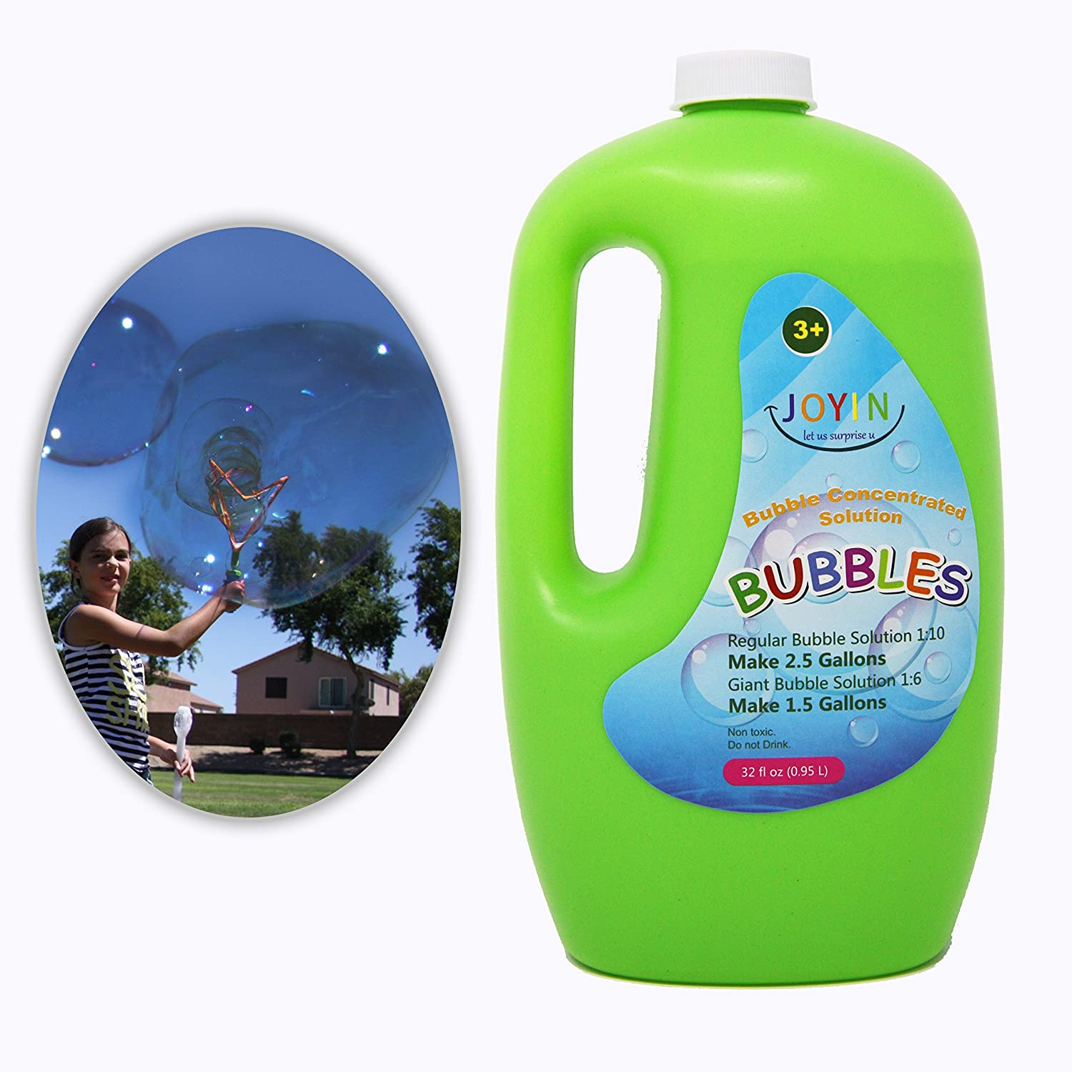32 Ounce CONCENTRATED Bubble Solution Refill (up to 2.5 Gallon)– BIG Bubble Soap by JOYIN