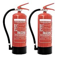 Feuerlöscher 2x 6kg ABC-Pulverlöscher mit Manometer EN 3 inkl. ANDRIS Prüfnachweis mit Jahresmarke &. ISO-Symbolschild