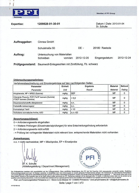 Cinnea Zimt-Einlegesohle-n Schwarz Damen Herren Gr.36-48 allergiegetestet