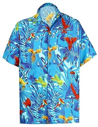 "1bc4472c LA LEELA Likre Men's Hawaiian Shirt Blue 188 X-Small | Chest 36"" -"