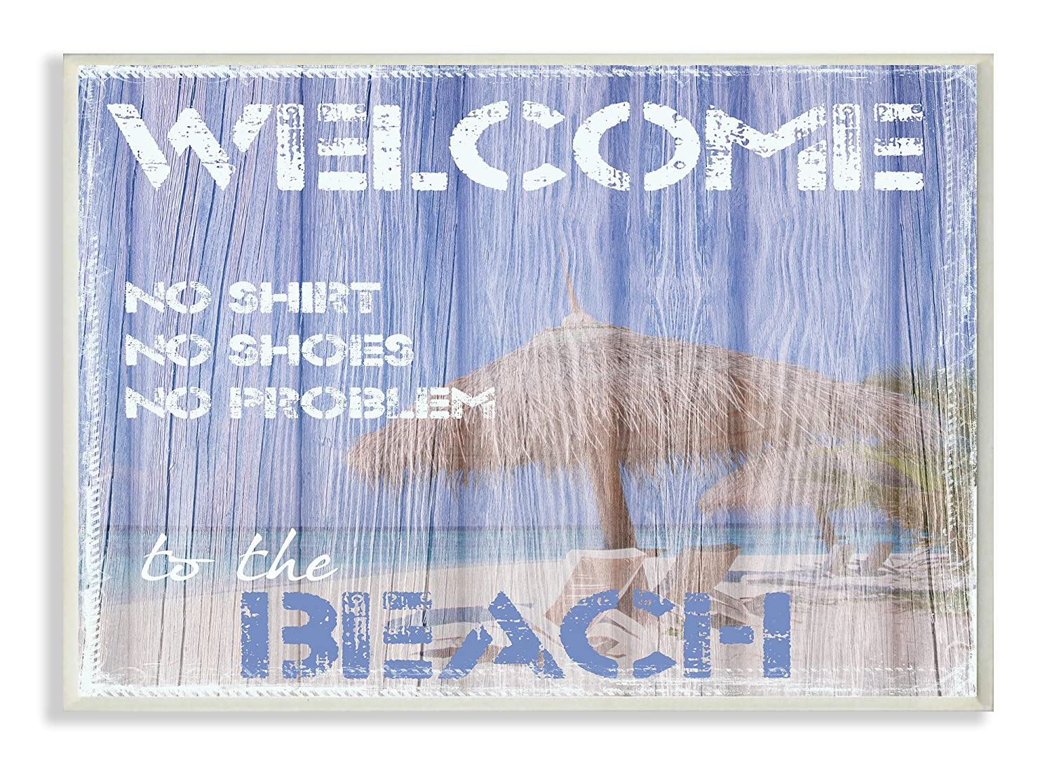 Stupell Home Décor Welcome To The Beach Rectangle Wall Plaque, 10 x 0.5 x 15, Proudly Made in USA