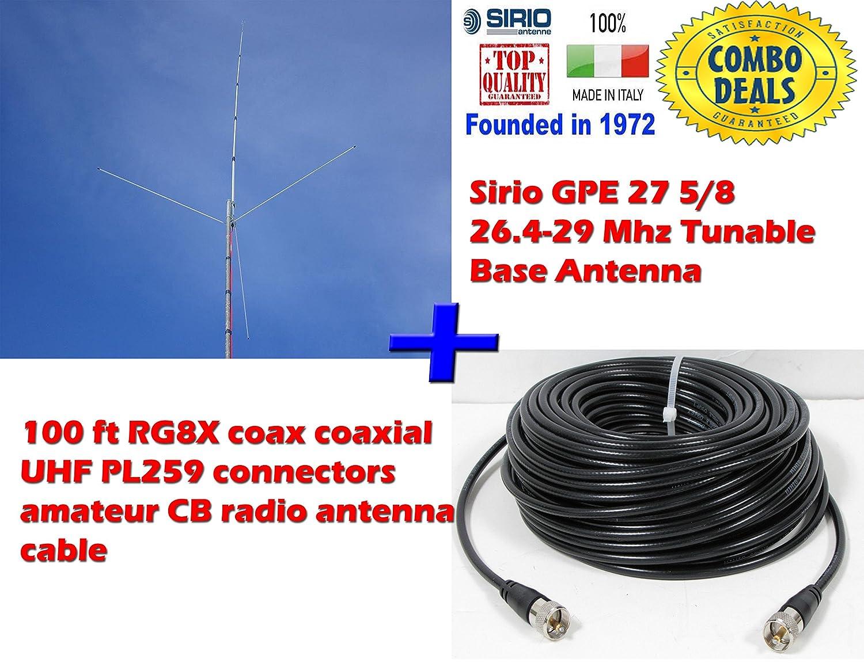 Sirio GPE 27 5//8 26.4-29 Mhz Tunable Base Antenna 100Ft RG8x Mini Coax