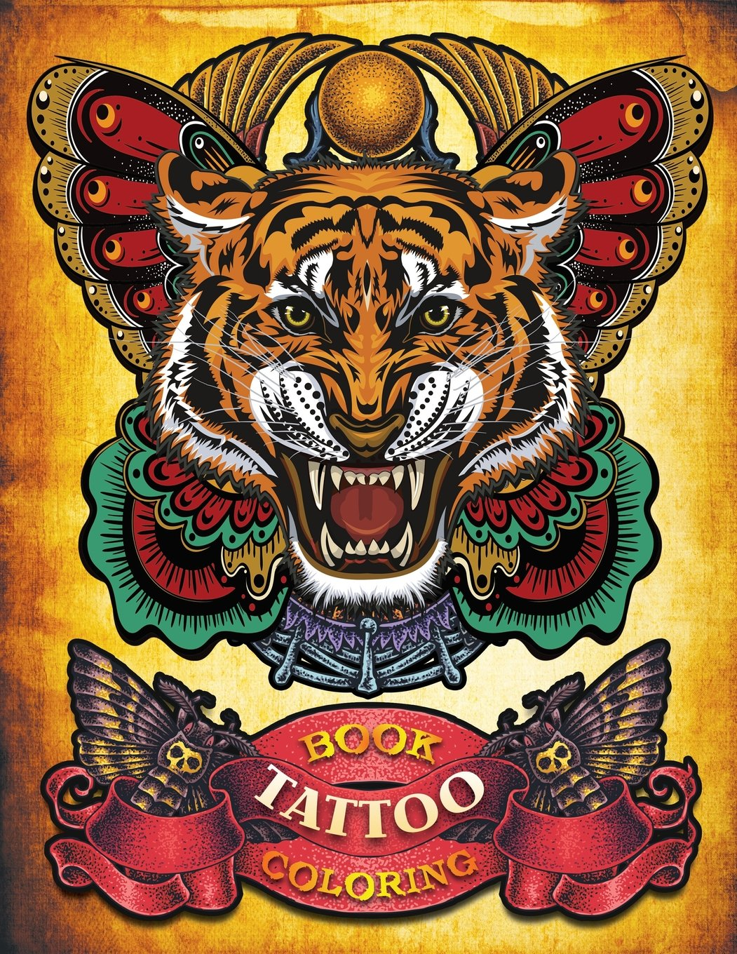 Tattoo Coloring Book: Hand-drawn set of old school Tattoos ...
