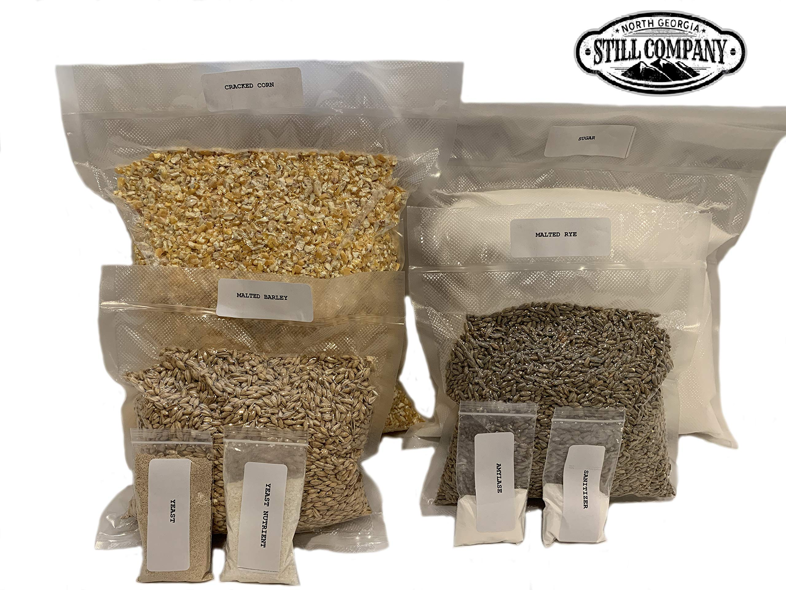 Complete Cracked Corn, Malted Barley & Rye Whiskey Mash & Fermentation Kit by North Georgia Still Company