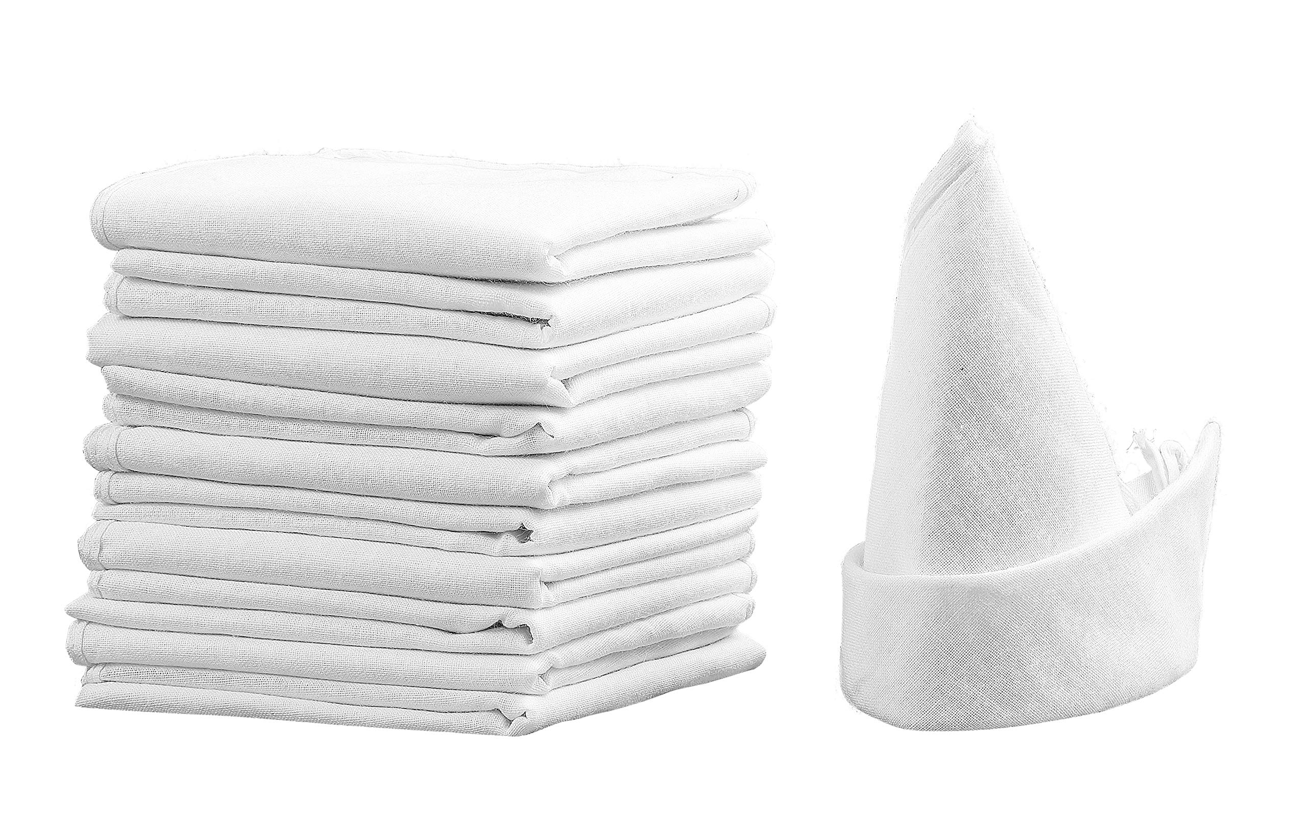 an2 100% Cotton & Pure White Handkerchief – Reusable Hankies Men, Women, Bride, Groom, Wedding (12pc)