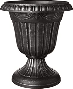 Arcadia Garden Products PL00SL Classic Traditional Plastic Urn Planter Indoor/Outdoor, 16 x 18 inches, Brushed Silver