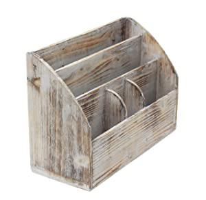 Vintage Rustic Wooden Office Desk Organizer & Mail Rack for Desktop, Tabletop, or Counter - Distressed Torched Wood – for Office Supplies, Desk Accessories, Mail