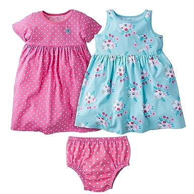 34f8e53256f3 Amazon.com  Gerber Girls  3-Piece Dress and Bloomer Set  Clothing