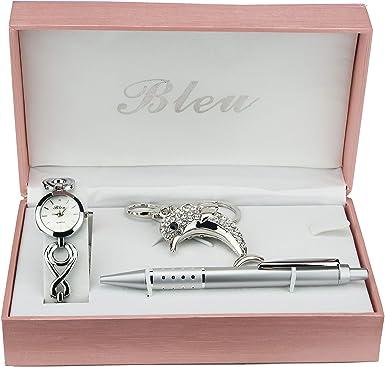 Caja de Regalo Reloj Mujer Llavero Delfin Bolígrafo: Amazon.es: Relojes