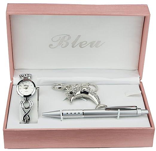 Caja de Regalo Reloj Mujer Llavero Delfin Bolígrafo