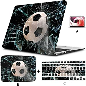 "Air Case Fast Soccer Ball Through Broken Glass A1466 Case Hard Shell Mac Air 11""/13"" Pro 13""/15""/16"" with Notebook Sleeve Bag for MacBook 2008-2020 Version"