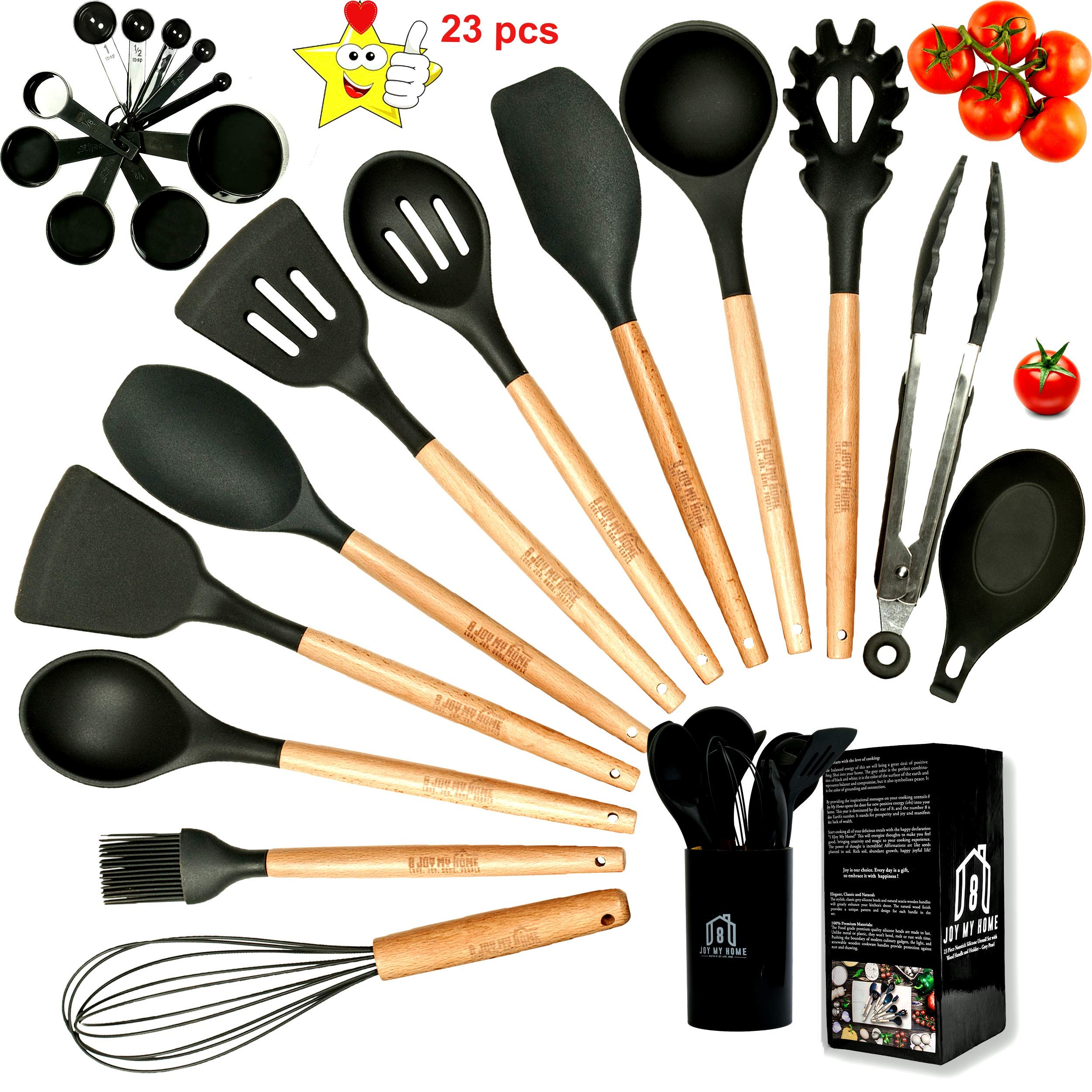 Silicone Cooking Utensils Kitchen Utensil Set with Natural Wooden Handles-Silicone Utensils-Cooking Tools-Rubber Spatulas with Spoon Rest and Holder for Nonstick Cookware-Best Housewarming Gift-Gray by 8joymyhome