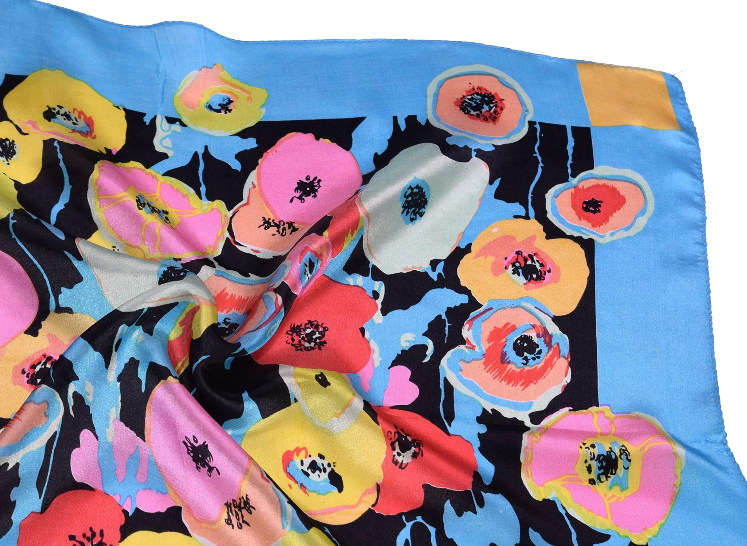 Blue Red Pink Flower Printed Fine Small Square Silk Scarf by Bees Knees Fashion (Image #6)