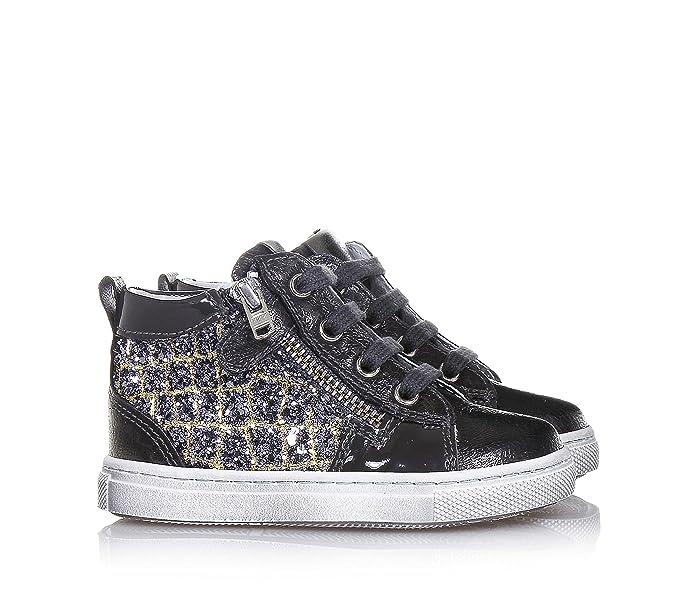 NERO GIARDINI - Sneaker à lacets gris foncé en cuir et glitter, made in Italy, Fille, Filles-37