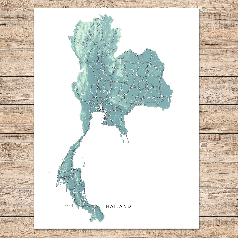 Amazon.com: Thailand Map Art Print, Thai, Southeast Asia, Country ...