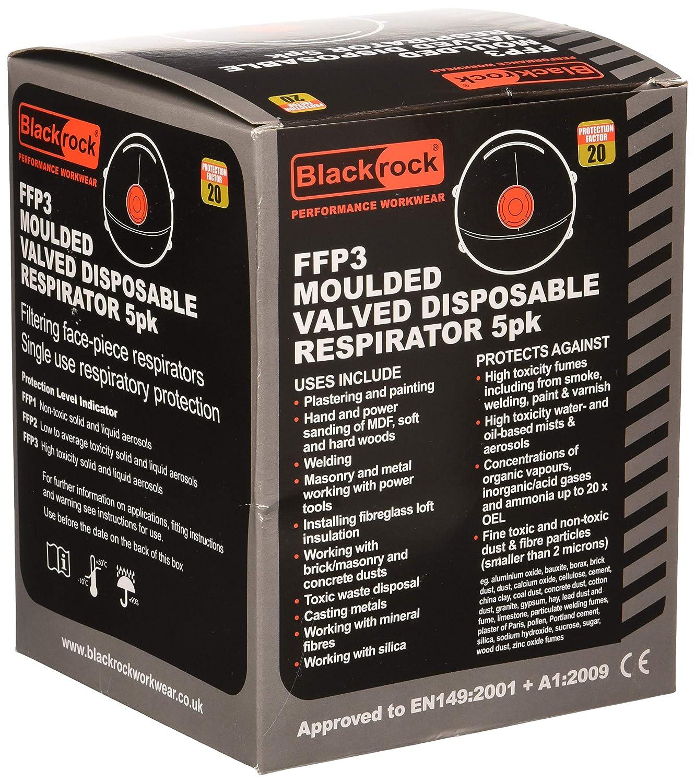 /M/áscara con v/álvula 5/unidades Blackrock 7300600/FFP3/