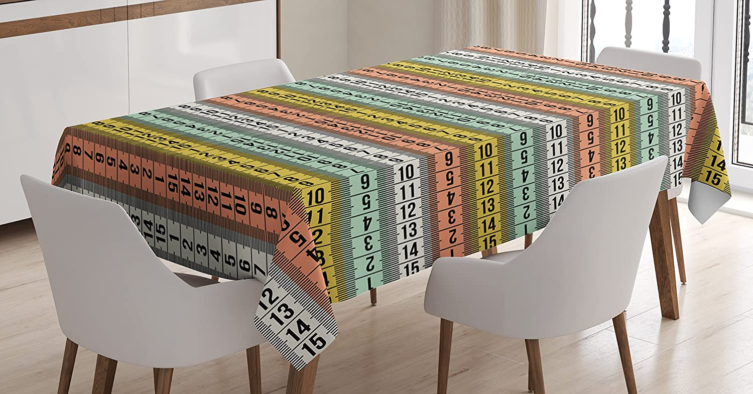 Ambesonne Pastel Tablecloth, Fashion Couture Horizontal Measuring Tape Tailor Pattern Illustration with Numbers, Rectangular Table Cover for Dining Room Kitchen Decor, 60