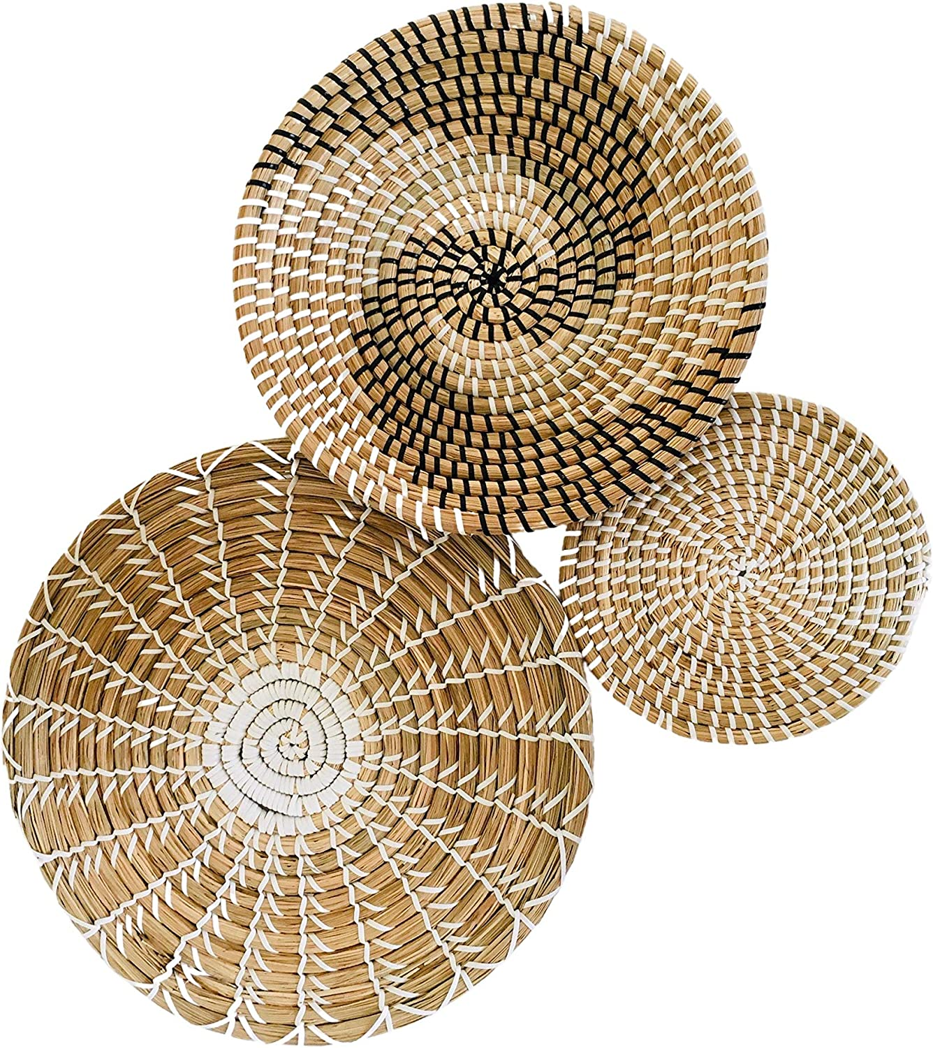 Handmade Hanging Wall Basket Decor - (Set of 3) - Round Woven Basket Wall Decor - Natural Boho Home Decor - Decor for Home Bedroom, Kitchen, Living Room - Decorative Seagrass Bowl and Trays