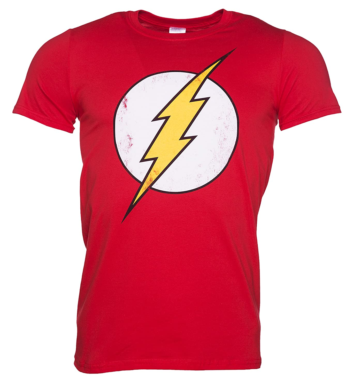 Mens Distressed DC Comics Flash Logo T Shirt CID