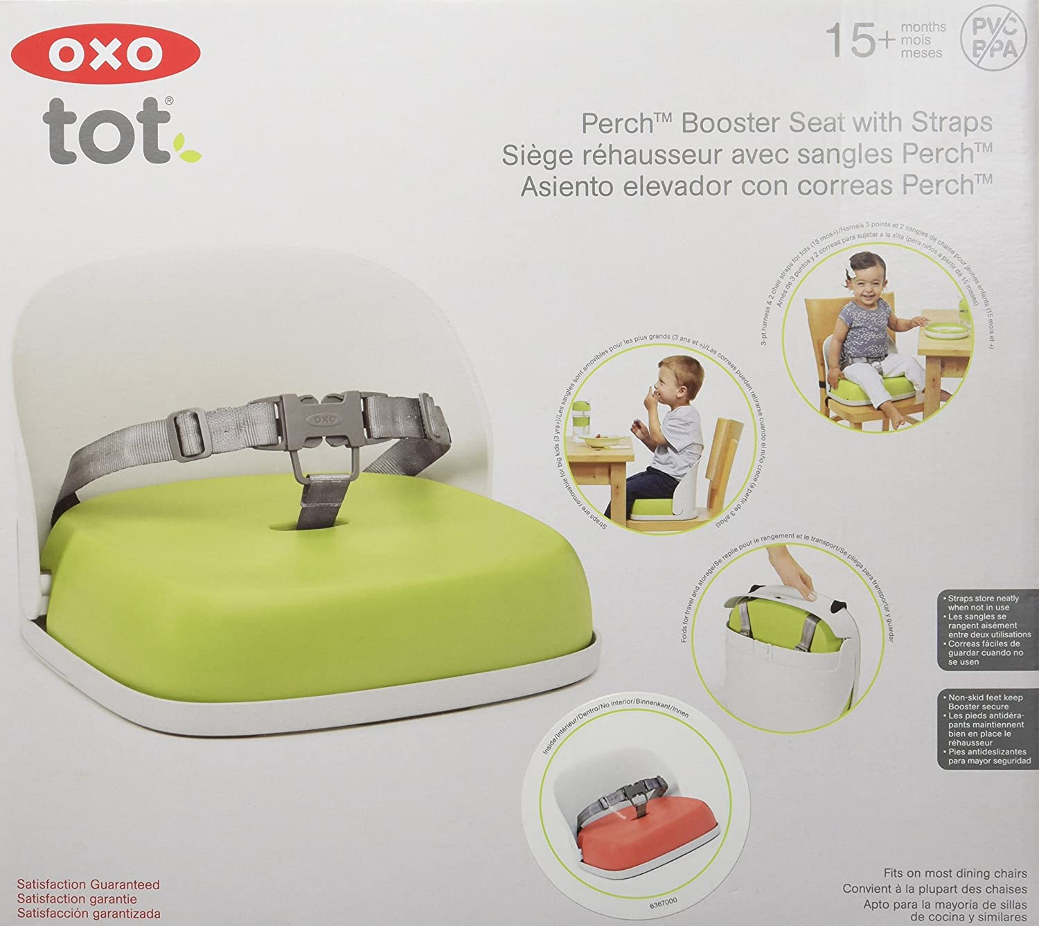 Orange OXO Tot Perch Booster Seat with Straps