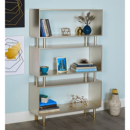 ModHaus Living Mid Century Modern Bookshelf With 3 Shelves And Solid Wood Legs