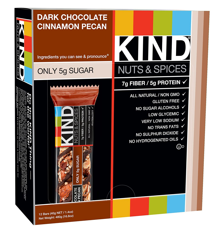 Amazon.com: KIND Bars, Dark Chocolate Cinnamon Pecan, Gluten Free ...