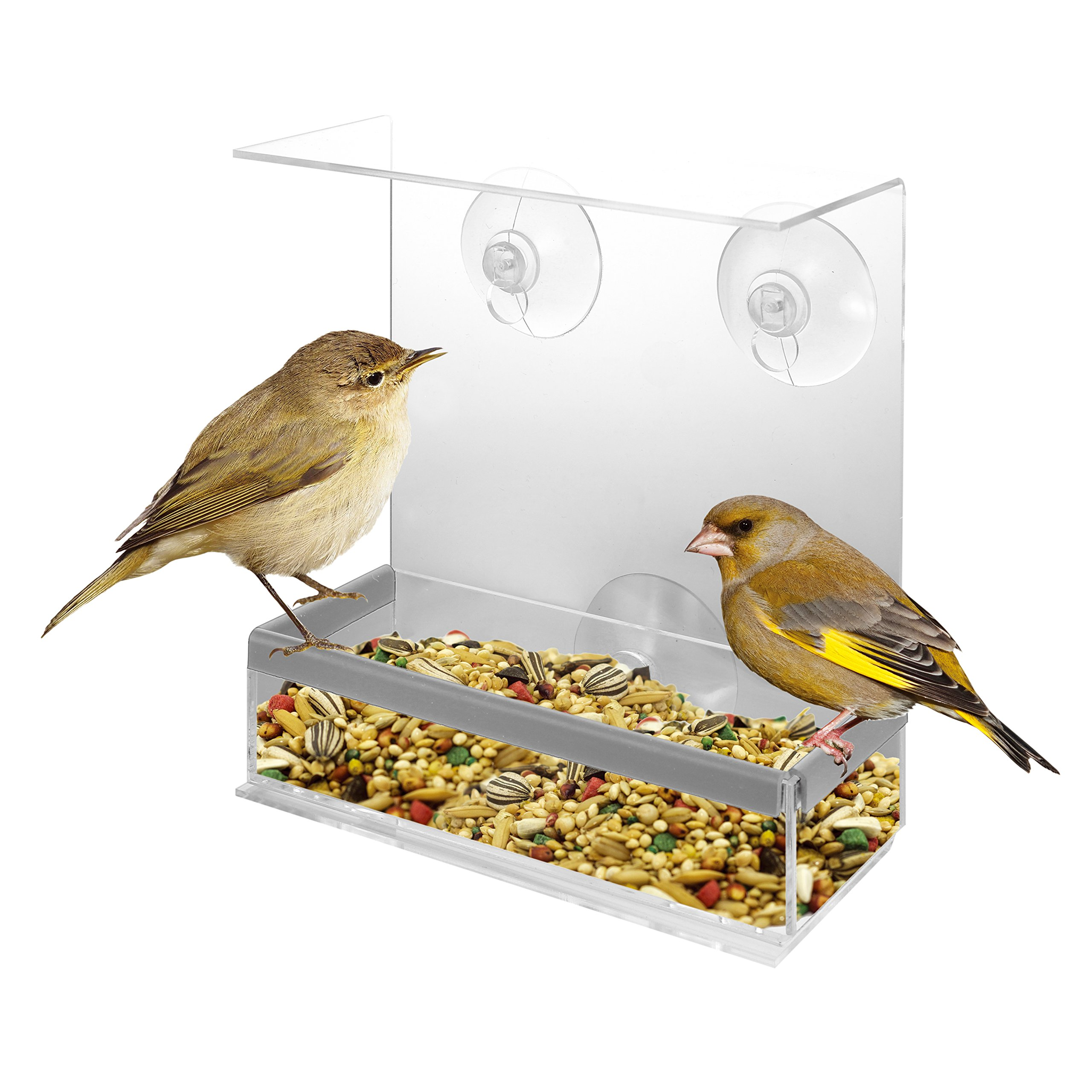 KOVOT Acrylic Window Bird Feeder and Perch - View Birds Close-Up From Inside Your Home (1)