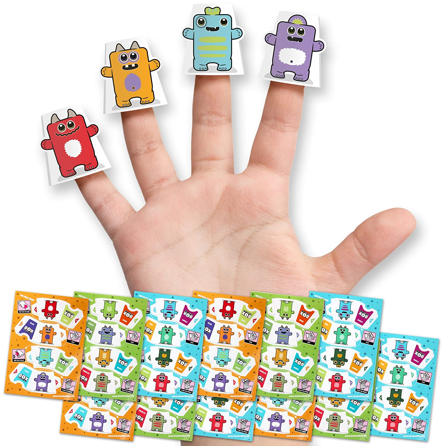 Box Buddies Papercraft Finger Puppets - Monster Party Favors